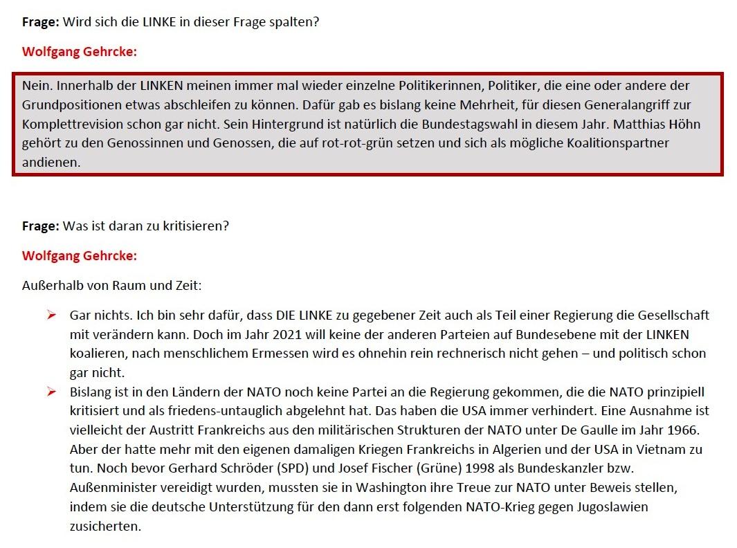 Gehrcke zu Höhn: Kein Frieden mit der NATO! - Interview vom 24.01.2021 - www.wolfgang-gehrcke.de - Aus dem Posteingang von Siegfried Dienel vom 25.01.2021 - Abschnitt 4 von 5 Abschnitten