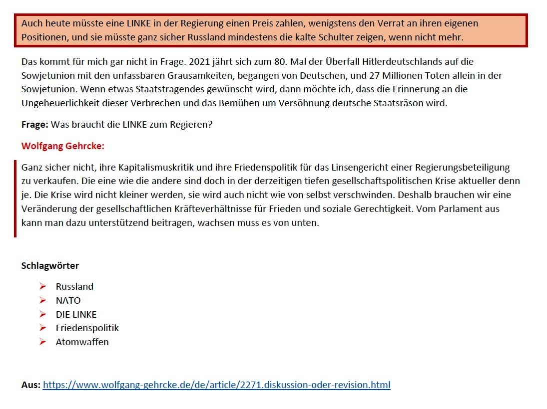 Gehrcke zu Höhn: Kein Frieden mit der NATO! - Interview vom 24.01.2021 - www.wolfgang-gehrcke.de - Aus dem Posteingang von Siegfried Dienel vom 25.01.2021 - Abschnitt 5 von 5 Abschnitten