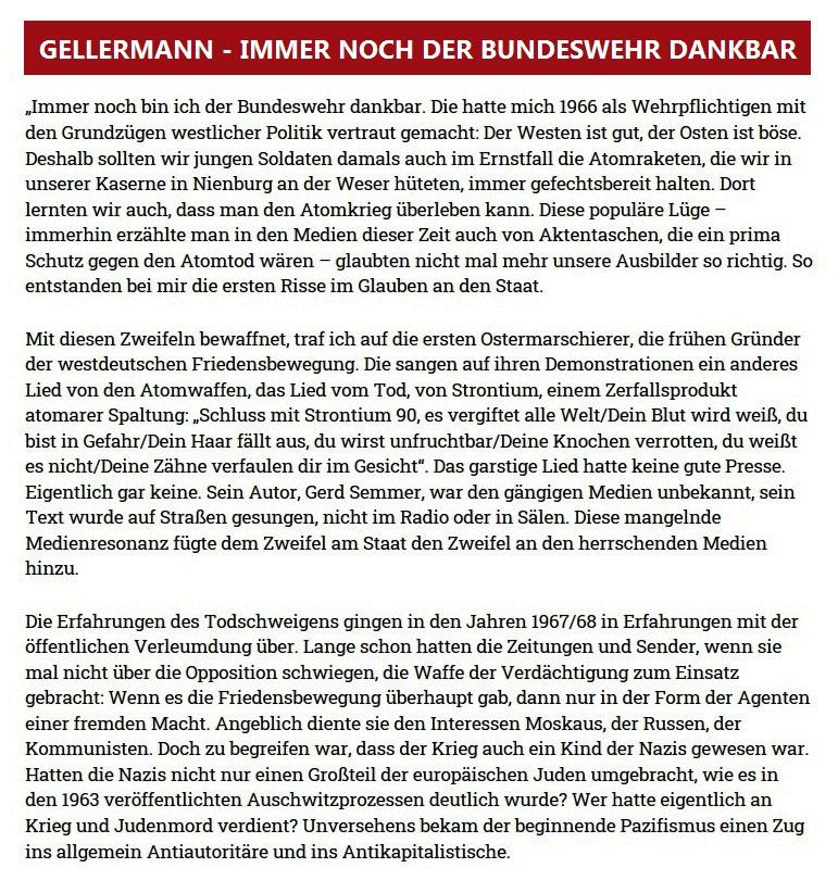 GELLERMANN - IMMER NOCH DER BUNDESWEHR DANKBAR - Politische Köpfe im Porträt - Ein Buch von und mit der Opposition - Mit Grüßen aus der Opposition - Uli Gellermann - Rationalgalerie - eine Plattform für Nachdenker und Vorläufer - 31.03.2021