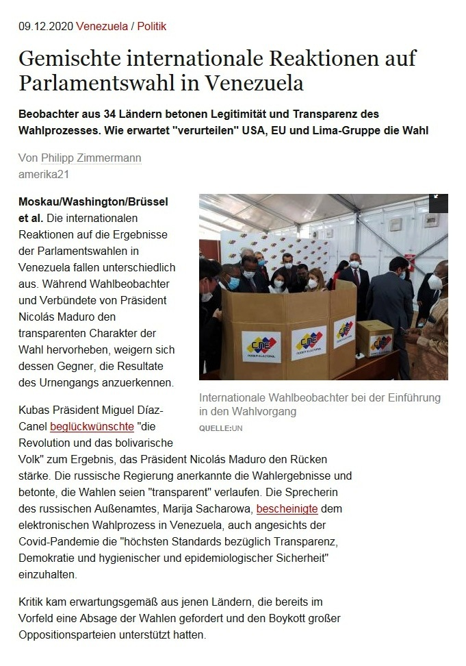 Gemischte internationale Reaktionen auf Parlamentswahl in Venezuela - Beobachter aus 34 Ländern betonen Legitimität und Transparenz des Wahlprozesses. Wie erwartet 'verurteilen' USA, EU und Lima-Gruppe die Wahl - Von Philipp Zimmermann - amerika21 - Nachrichten und Analysen aus Lateinamerika - 09.12.2020