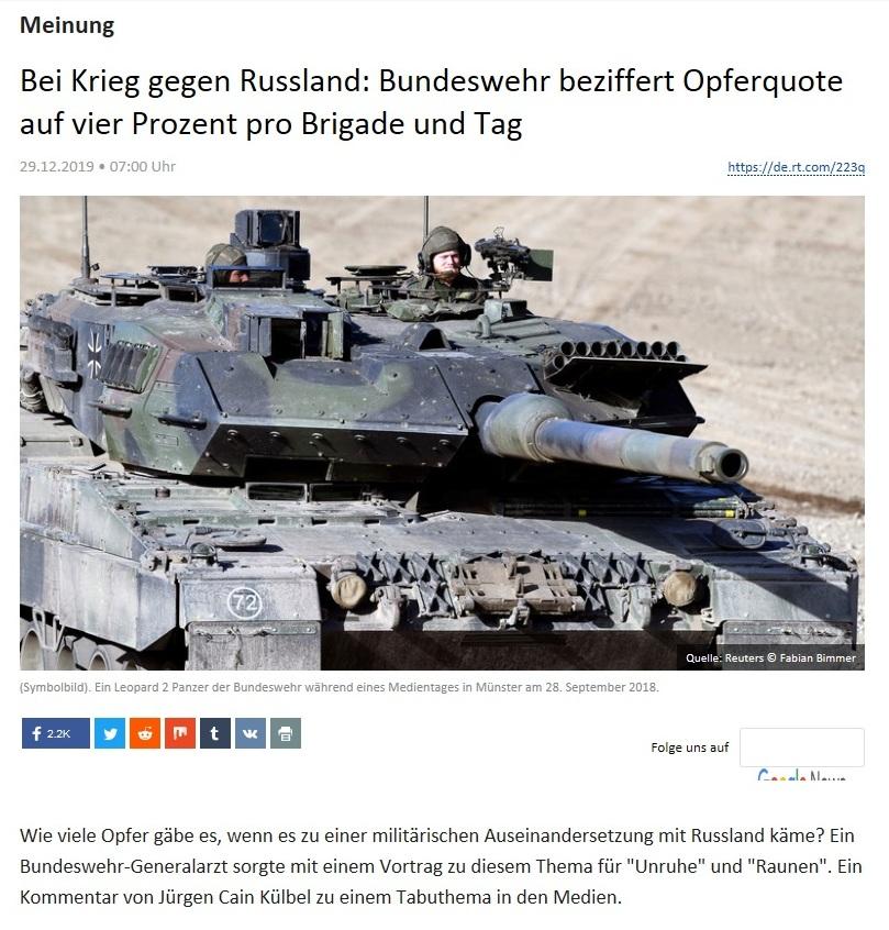 Meinung - Bei Krieg gegen Russland: Bundeswehr beziffert Opferquote auf vier Prozent pro Brigade und Tag