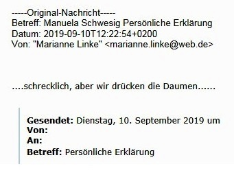 Aus dem Posteingang - Genesungswünsche von Sozialministerin a. D. Dr. Marianne Linke an Ministerpräsidentin Dr. Manuela Schwesig