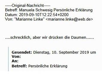 Aus dem Posteingang - Genesungswünsche von Sozialministerin a. D. Dr. Marianne Linke an Ministerpräsidentin Dr. Manuela Schwesig
