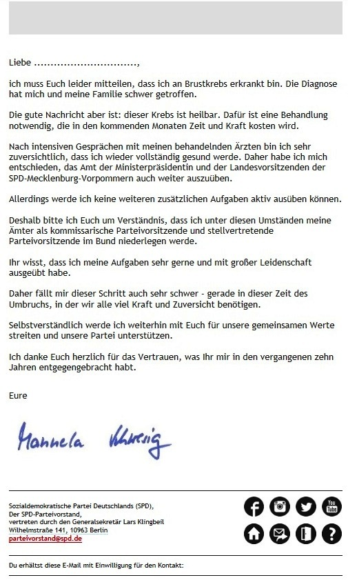 Aus dem Posteingang - Genesungswünsche von Sozialministerin a. D. Dr. Marianne Linke an Ministerpräsidentin Dr. Manuela Schwesig - Persönliche Erklärung von Dr. Manuala Schwesig in der Email an Dr. Marianne Linke