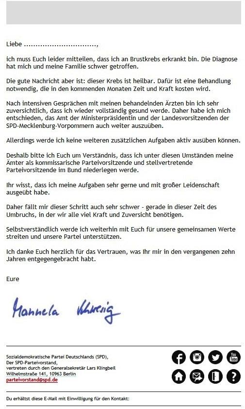 Aus dem Posteingang - Genesungswünsche von Sozialministerin a. D. Dr. Marianne Linke an Ministerpräsidentin Dr. Manuela Schwesig - Persönliche Erklärung von Dr. Manuala Schwesig in der Email an Dr. Marianne Linke
