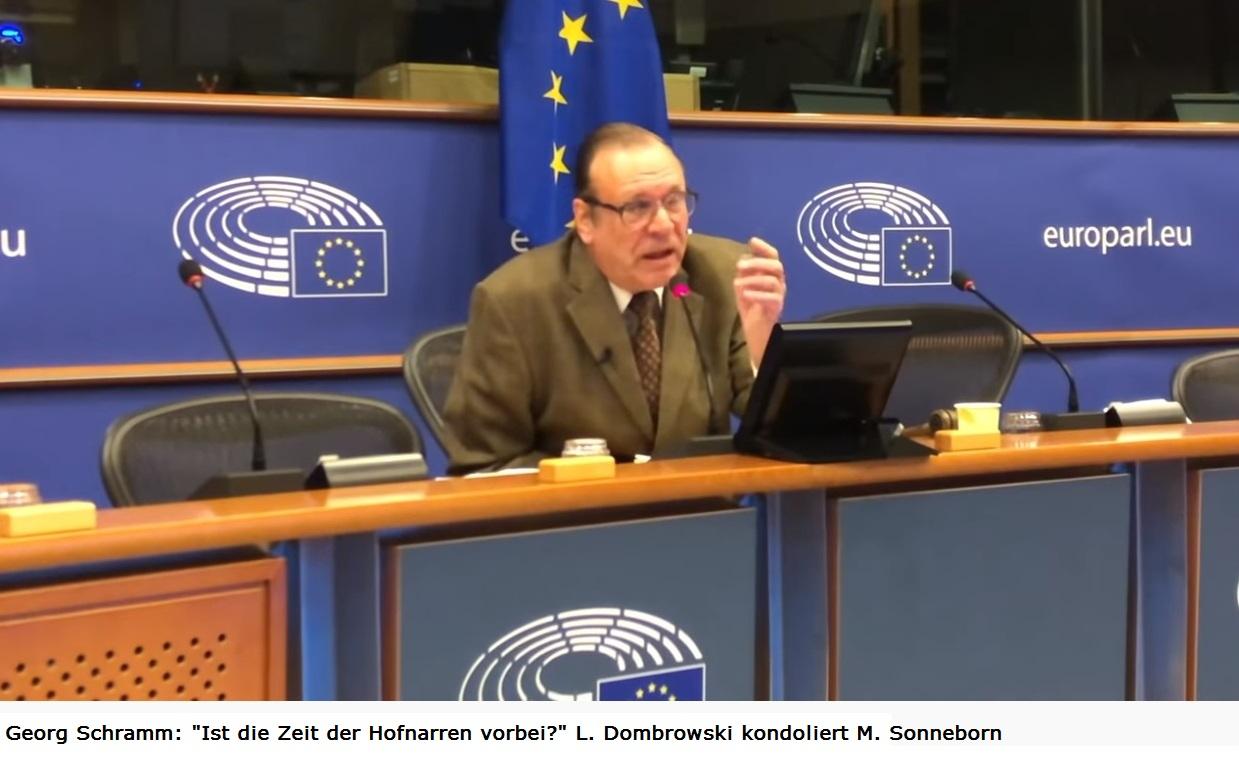 Georg Schramm: Ist die Zeit der Hofnarren vorbei?' L. Dombrowski kondoliert M. Sonneborn - Georg Schramm im EU-Parlament