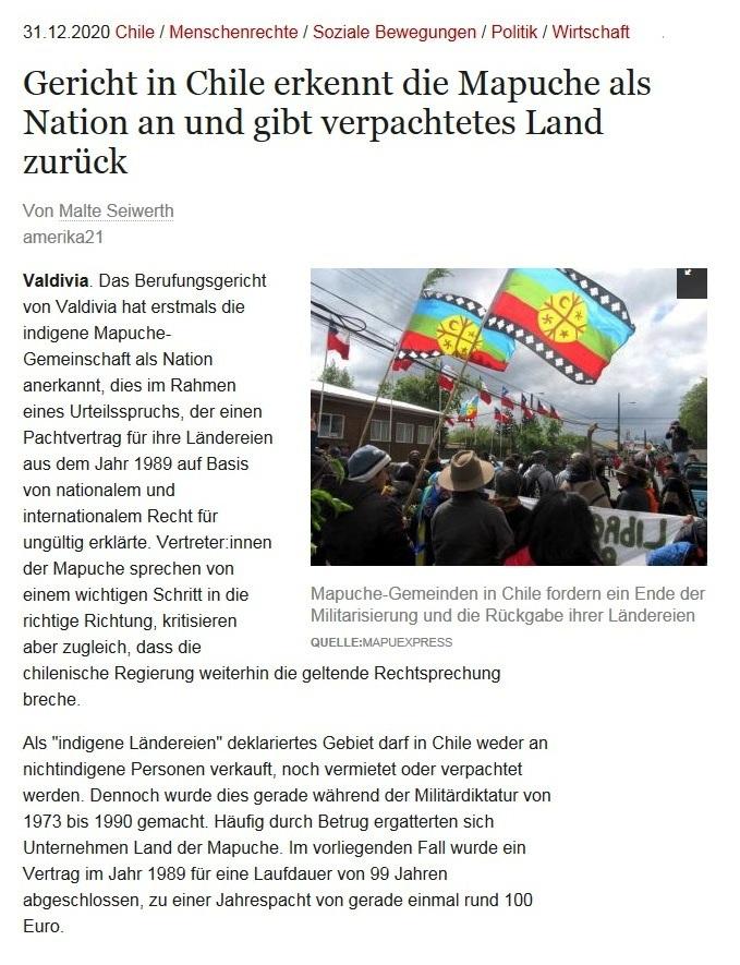 Gericht in Chile erkennt die Mapuche als Nation an und gibt verpachtetes Land zurück - Von Malte Seiwerth - amerika21 - Nachrichten und Analysen aus Lateinamerika - 31.12.2020