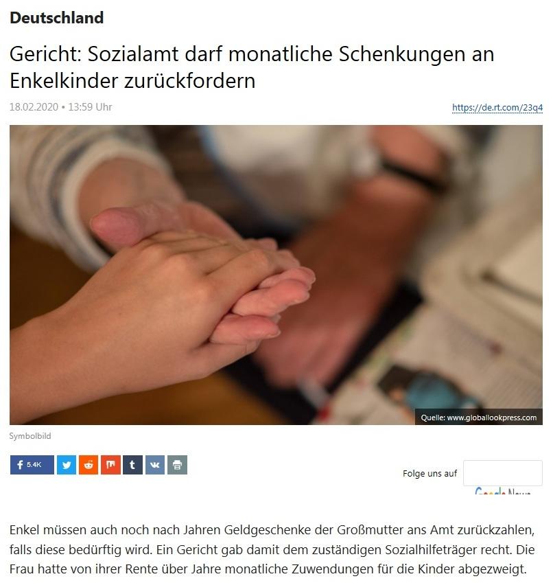 Deutschland - Gericht: Sozialamt darf monatliche Schenkungen an Enkelkinder zurückfordern