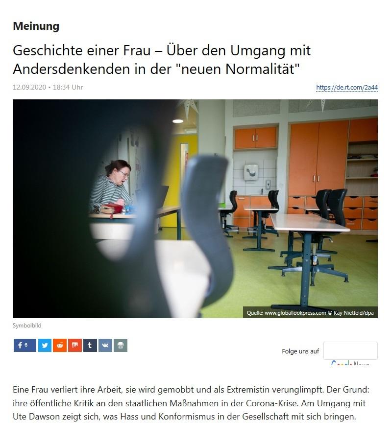 Meinung - Geschichte einer Frau – Über den Umgang mit Andersdenkenden in der 'neuen Normalität' - RT Deutsch - 12.09.2020