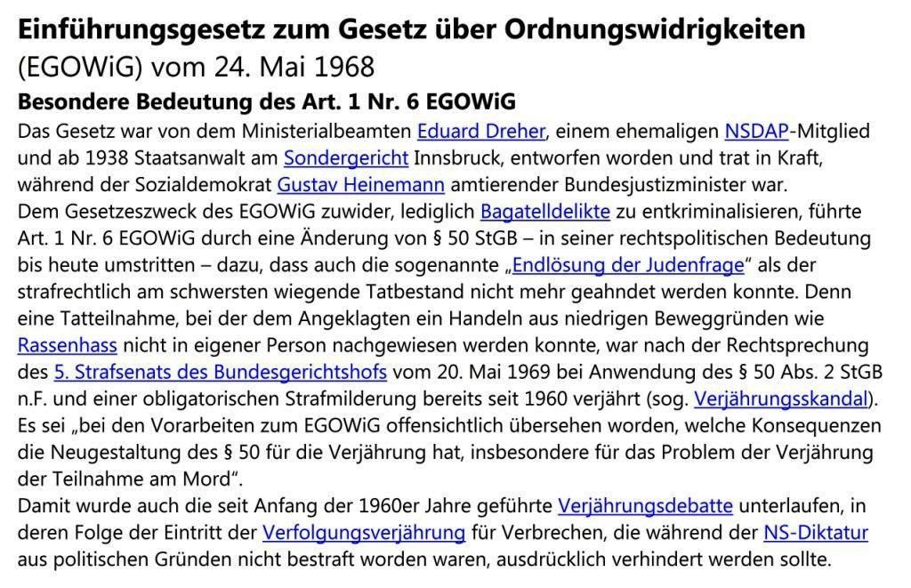 Gesetzliche Verfolgungsverjährung für NS-Straftaten in der Bundesrepublik Deutschland - Einführungsgesetz zum Gesetz über Ordnungswidrigkeiten (EGOWiG) vom 24. Mai 1968  - Besondere Bedeutung des Art. 1 Nr. 6 EGOWiG