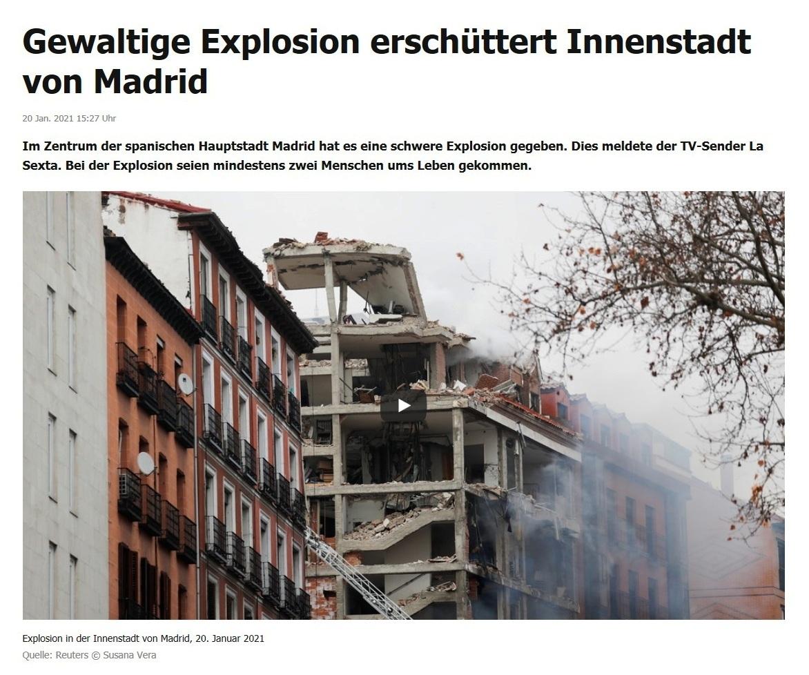 Gewaltige Explosion erschüttert Innenstadt von Madrid - RT DE - 20 Jan. 2021 15:27 Uhr