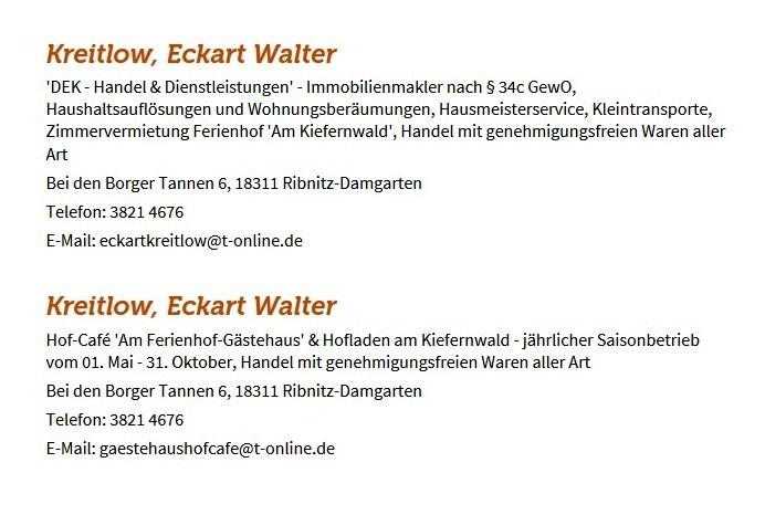 Gewerbeanmeldung von Eckart Kreitlow beim Gewerbeamt der Bernsteinstadt Ribnitz-Damgarten