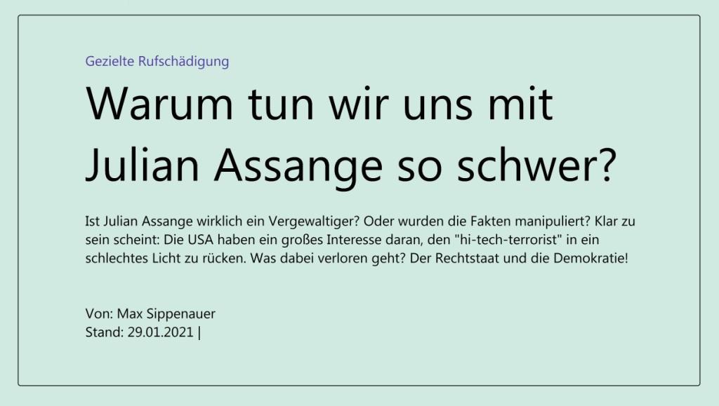 Gezielte Rufschädigung - Warum tun wir uns mit Julian Assange so schwer? - Ist Julian Assange wirklich ein Vergewaltiger? Oder wurden die Fakten manipuliert? Klar zu sein scheint: Die USA haben ein großes Interesse daran, den