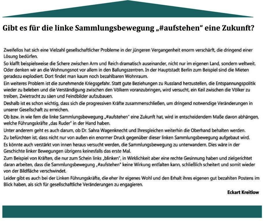#aufstehen - DIE SAMMLUNGSBEWEGUNG  auf Ostsee-Rundschau.de - Gibt es für die linke Sammlungsbewegung '#aufstehen' eine Zukunft? - Beitrag zur Sammlungsbewegung '#aufstehen' von Eckart Kreitlow
