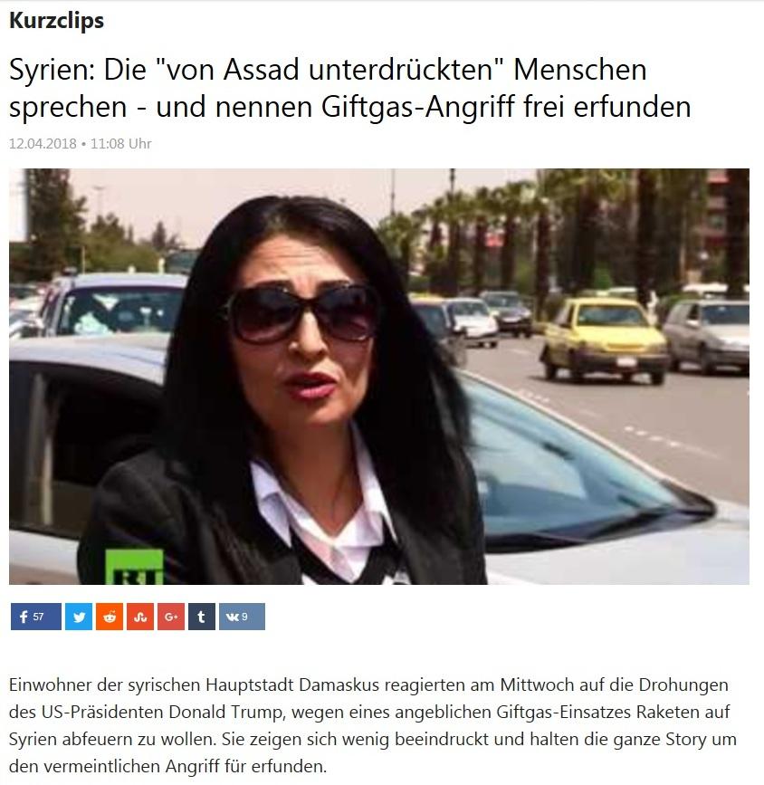 Kurzclips - Syrien: Die 'von Assad unterdrückten' Menschen sprechen - und nennen Giftgas-Angriff frei erfunden