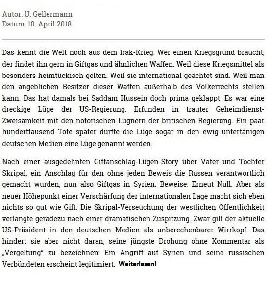 Kurz vor Weltkrieg - Erneut Giftgas-Lüge als Vorwand - Rationalgalerie - Autor: Ulrich Gellermann - Datum: 10. April 2018