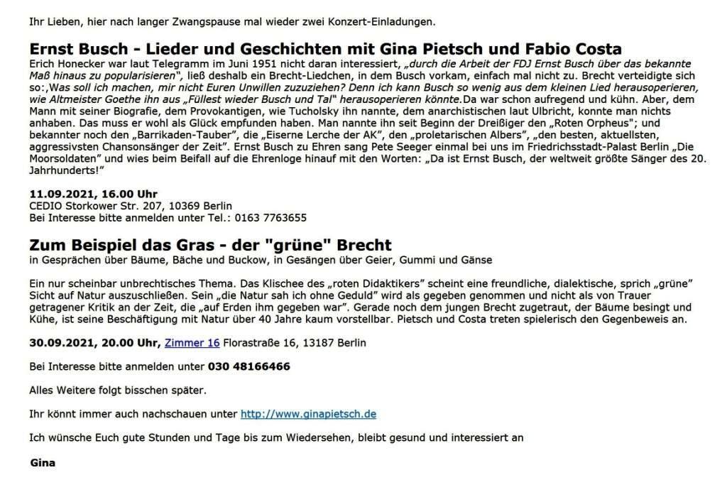 Ernst Busch - Lieder und Geschichten mit Gina Pietsch und Fabio Costa - Gina Pietsch - Einladungen - Aus dem Posteingang vom 30.08.2021 von Dr. Marianne Linke - Link: http://www.ginapietsch.de