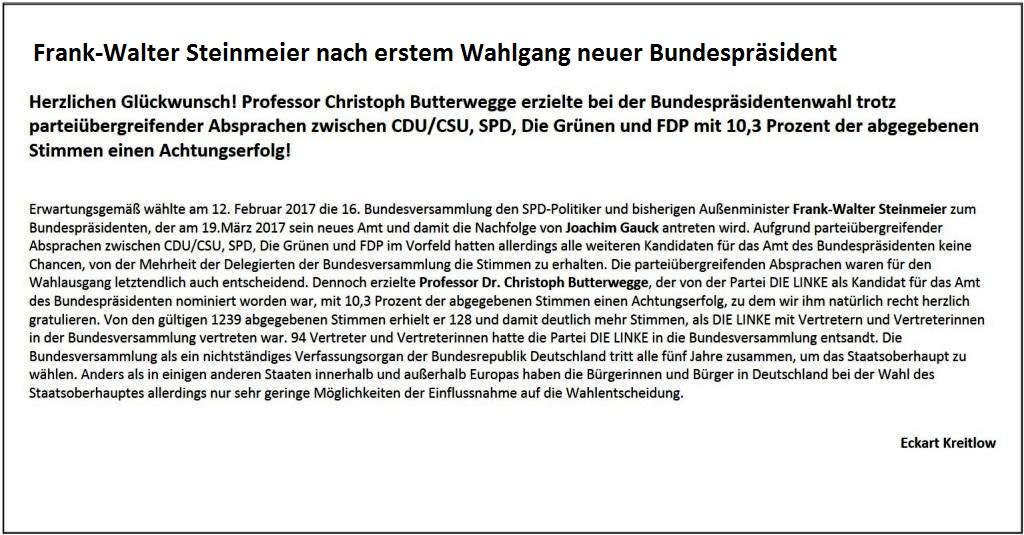 Herzlichen Glückwunsch! Professor Christoph Butterwegge erzielte  bei der Bundespräsidentenwahl trotz parteiübergreifender Absprachen  zwischen CDU/CSU, SPD, Die Grünen und FDP mit 10,3 Prozent der abgegebenen Stimmen einen Achtungserfolg - Ostsee-Rundschau.de