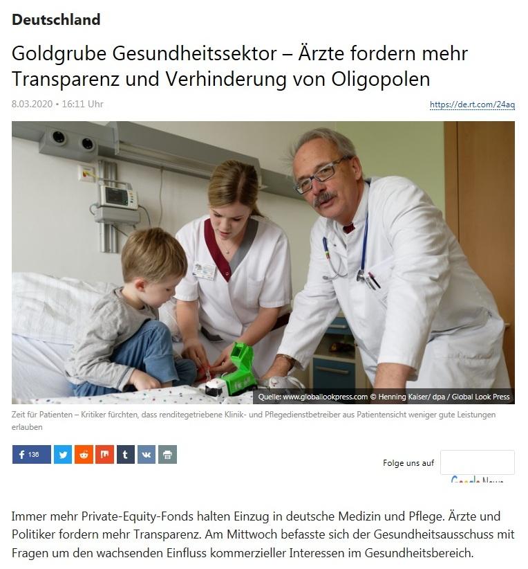 Deutschland - Goldgrube Gesundheitssektor – Ärzte fordern mehr Transparenz und Verhinderung von Oligopolen - RT DEUTSCH - 8.03.2020