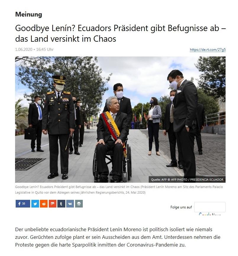 Meinung - Goodbye Lenín? Ecuadors Präsident gibt Befugnisse ab – das Land versinkt im Chaos - RT Deutsch - 01.06.2020