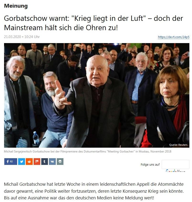 Meinung - Gorbatschow warnt: 'Krieg liegt in der Luft' – doch der Mainstream hält sich die Ohren zu! - RT Deutsch - 21.03.2020