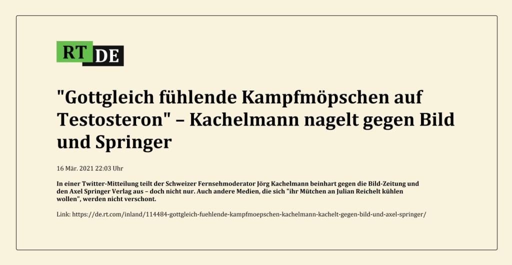 'Gottgleich fühlende Kampfmöpschen auf Testosteron' – Kachelmann nagelt gegen Bild und Springer -  RT DE - 16 Mär. 2021 22:03 Uhr