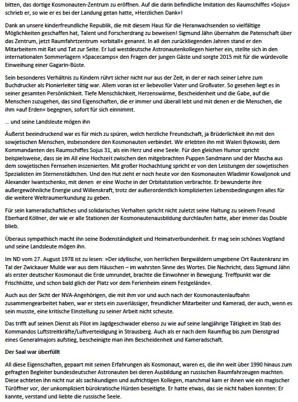 Gratulation für unseren Fliegerkosmonauten - Von Helga Labs, Berlin - Die Nachricht, die einem den Atem verschlug: 26. August 1978; Die Interkosmos-Besatzung Waleri Bykowski  und Sigmund Jähn startete im sowjetischen Baikonur mit dem Raumschiff Sojus 31 ins All - Aus dem Posteingang von Siegfried Dienel vom 25.02.2021 - Abschnitt 2