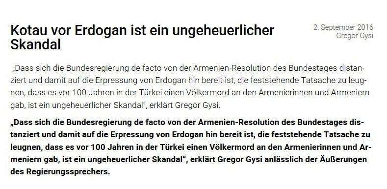 Bundestagsabgeordneter Dr. Gregor Gysi, DIE LINKE - 2.September 2016 - Kotau vor Erdogan ist ein ungeheuerlicher Skandal