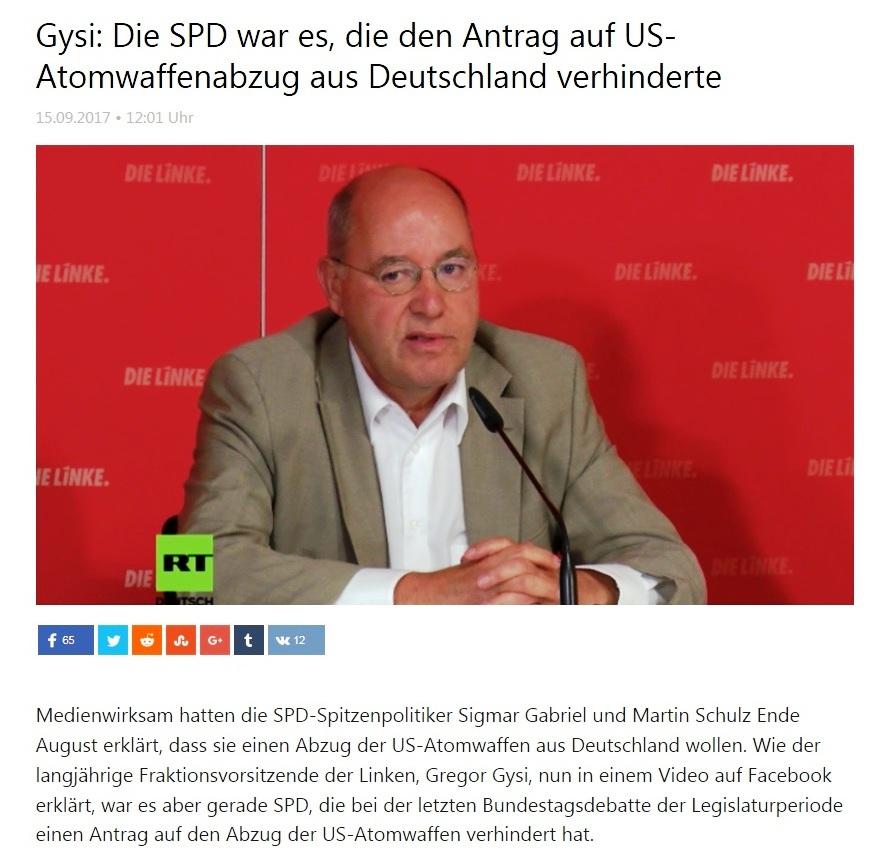 Gregor Gysi: Die SPD war es, die den Antrag auf US-Atomwaffenabzug aus Deutschland verhinderte