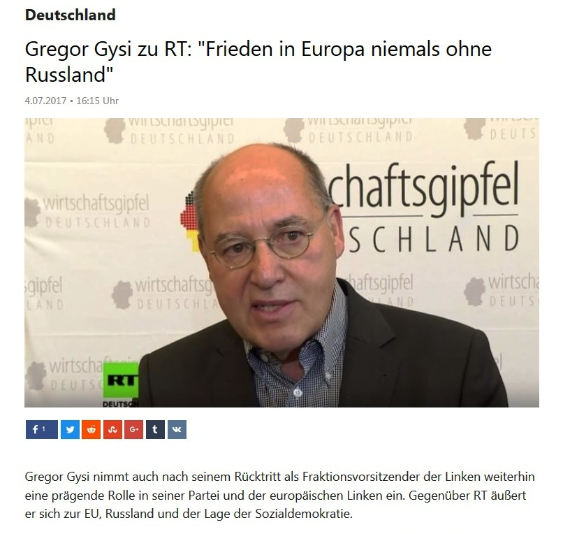 Gregor Gysi zu RT: Frieden in Europa niemals ohne Russland