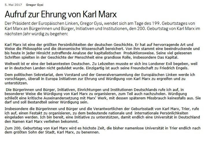 Aufruf von Dr. Gregor Gysi - Präsident der Europäischen Linken - zur Ehrung von Karl Marx, des größten deutschen Denkers, Philosophen und Gesellschaftsanalytikers,  anlässlich seines 200.Geburtstages am 5.Mai 2018