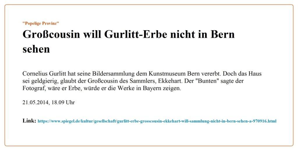 'Popelige Provinz' - Großcousin will Gurlitt-Erbe nicht in Bern sehen - Link: https://www.spiegel.de/kultur/gesellschaft/gurlitt-erbe-grosscousin-ekkehart-will-sammlung-nicht-in-bern-sehen-a-970916.html - SPIEGEL Kultur - 21.05.2014, 18.09 Uhr  - Kontaktaufnahme nach der gestrigen Wahlveranstaltung DER LINKEN - E-Mail an Ekki Gurlitt am 18.04.2021 - Aus dem Posteingang von Siegfried Dienel vom 19.04.2021