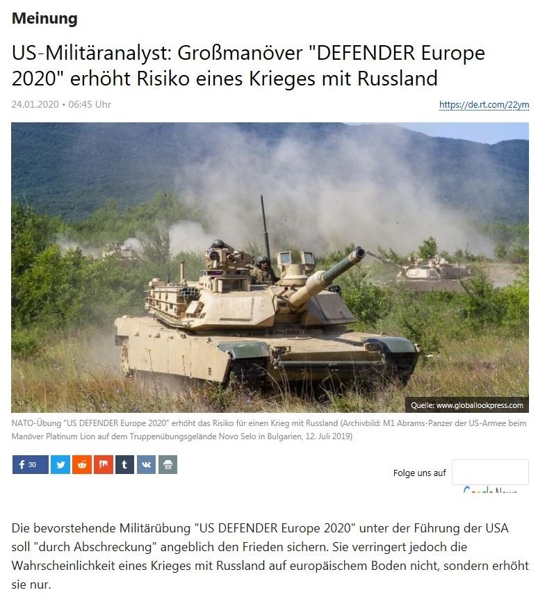 Meinung - US-Militäranalyst: Großmanöver 'DEFENDER Europe 2020' erhöht Risiko eines Krieges mit Russland