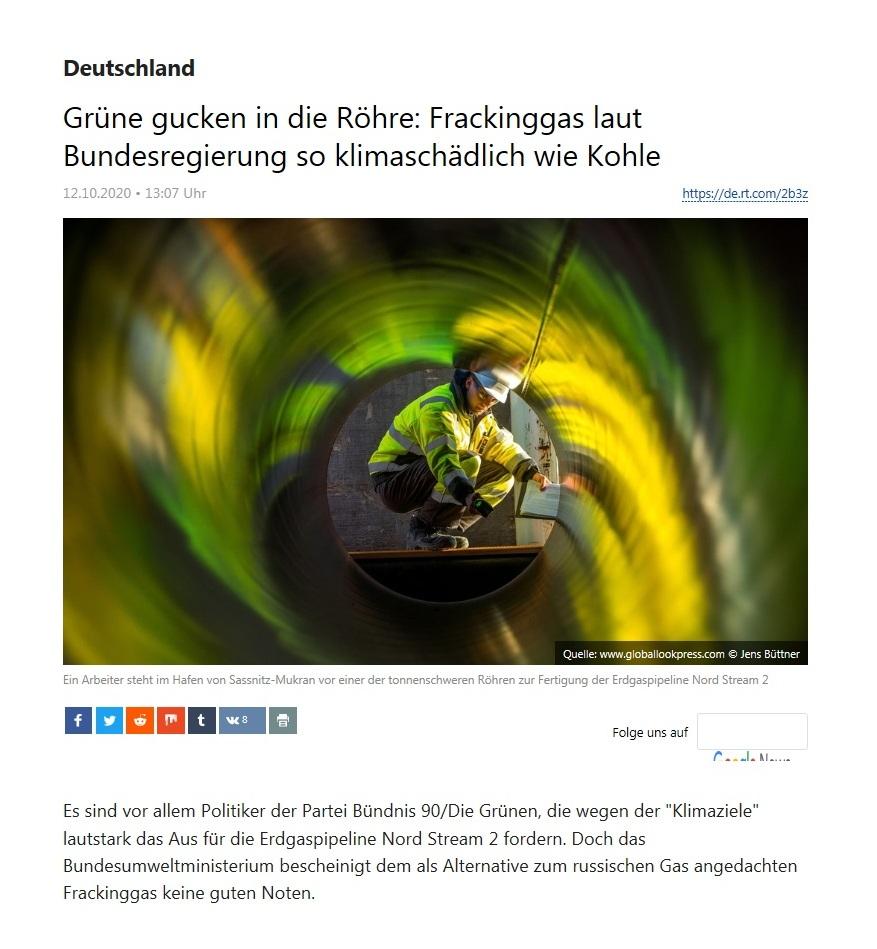 Deutschland -  Grüne gucken in die Röhre: Frackinggas laut Bundesregierung so klimaschädlich wie Kohle - RT Deutsch - 12.10.2020