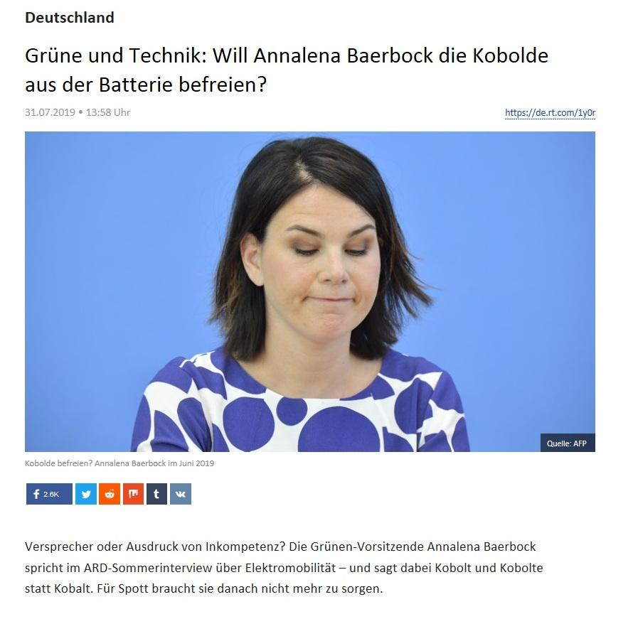 Deutschland - Grüne und Technik: Will Annalena Baerbock die Kobolde aus der Batterie befreien?