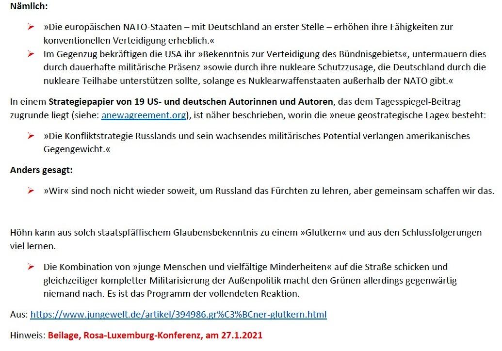 Grüner Glutkern - Von Arnold Schölzel - Aus Tageszeitung junge Welt: Ausgabe vom 23.01.2021, Seite 3 (Beilage) / Wochenendbeilage - Aus dem Posteingang von Siegfried Dienel vom 25.01.2021 - Abschnitt 4 von 4 Abschnitten