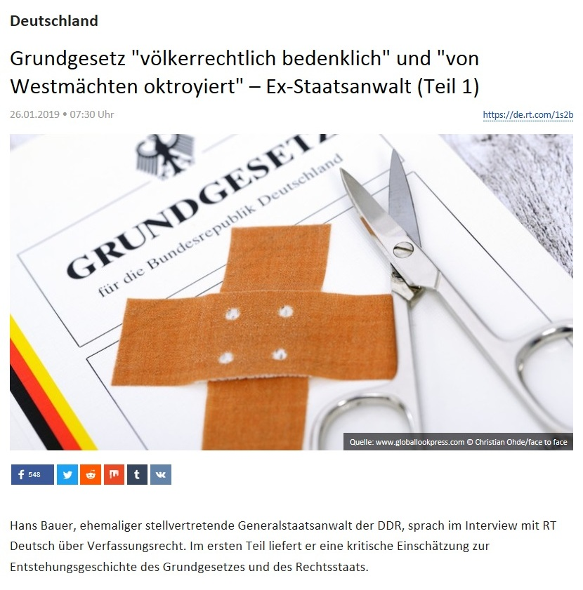 Deutschland - Grundgesetz 'völkerrechtlich bedenklich' und 'von Westmächten oktroyiert' – Ex-Staatsanwalt (Teil 1)