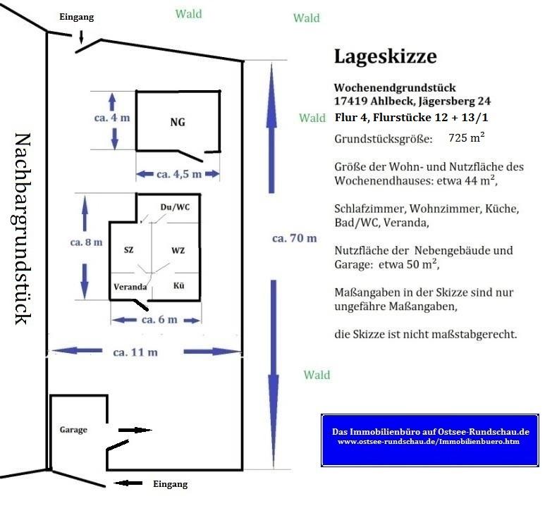 Lageskizze Wochenendgrundstück 17419 Ostseeheilbad Ahlbeck, Jägersberg 24, Grundstücksgröße: etwa 780 m² Eigentumsland, Wohn- und Nutzfläche Wochenenhaus: etwa 44 m², Wohnzimmer, Schlafzimmer, Bad/WC, Küche, Veranda, Nutzfläche der Nebengebäude und Garage: ca 50 m², Lageskizze ist nicht maßstabgerecht, Maßangaben in der Skizze nur ungefähre Angaben.
