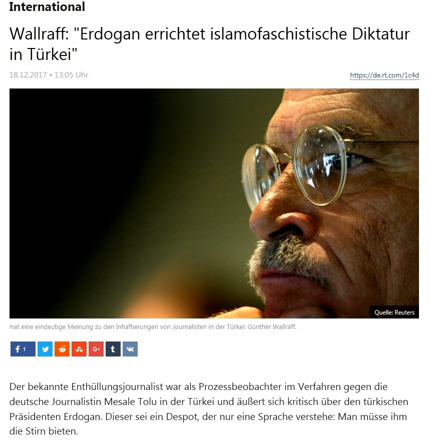 Günter Wallraff: 'Erdogan errichtet islamofaschistische Diktatur in der Türkei'