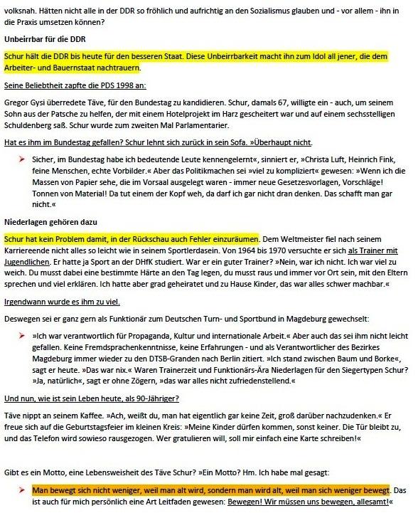 Täve Schur - Alt wird nur, wer sich zu wenig bewegt - Straßenradweltmeister Gustav-Adolf Schur war das erste große Idol der DDR. An diesem Dienstag wird er 90. Ein Geburtstagsbesuch in Heyrothsberge - Von Jirka Grahl, Heyrothsberge - Neues Deutschland - 22.02.2021, 17:05 Uhr - Aus dem Posteingang von Siegfried Dienel vom 25.02.2021 - Abschnitt 1
