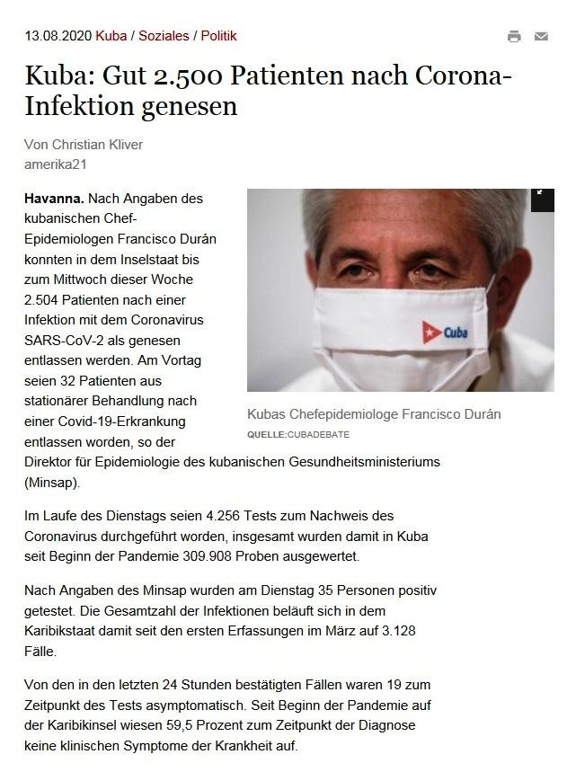 Kuba: Gut 2.500 Patienten nach Corona-Infektion genesen - amerika21 - Nachrichten und Analysen aus Lateinamerika - 13.08.2020