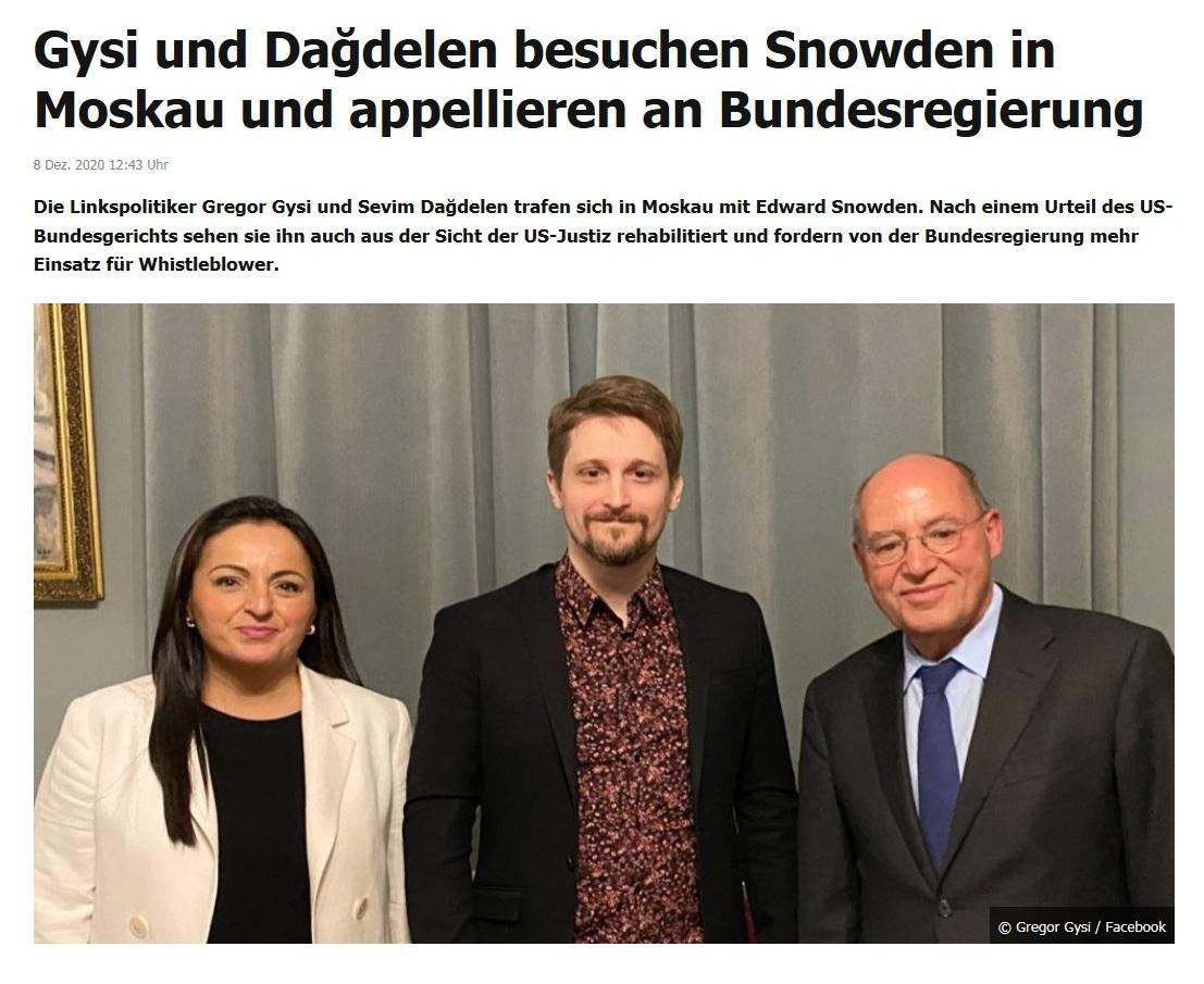 Gysi und Dağdelen besuchen Snowden in Moskau und appellieren an Bundesregierung - RT DE - 8. Dez. 2020 12:43 Uhr