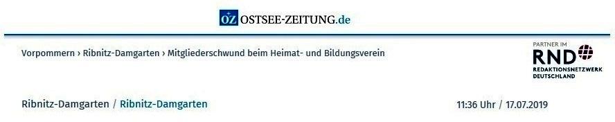 Mitgliederschwund beim Heimat- und Bildungsverein - OZ-Beitrag von Robert Niemeyer - Ostsee-Zeitung Ribnitz-Damgarten -  veröffentlicht online am 17.07.2019 11:36 Uhr