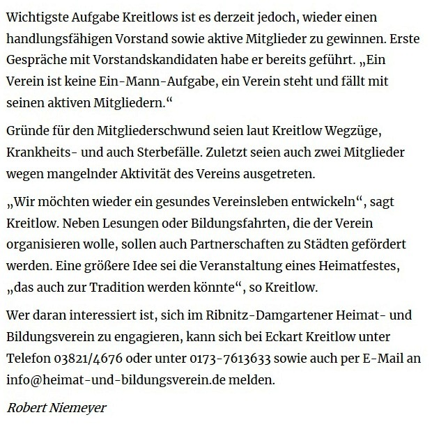 Mitgliederschwund beim Heimat- und Bildungsverein - OZ-Beitrag von Robert Niemeyer - Ostsee-Zeitung Ribnitz-Damgarten -  veröffentlicht online am 17.07.2019 11:36 Uhr