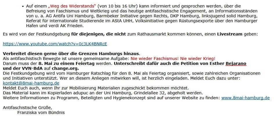 Hamburg Tag der Befreiung, 08.05.2021, 10-20 Uhr, Hamburger Rathausmarkt - Aus dem Posteingang vom 29.04.2021 von Dr. Marianne Linke -