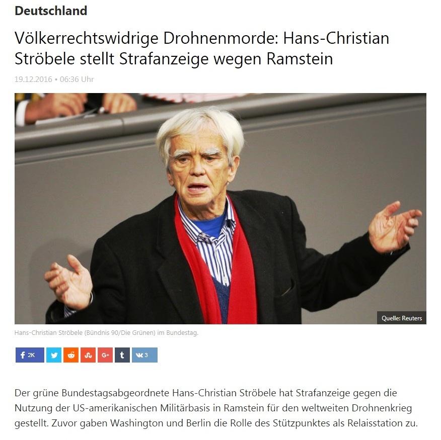 RT deutsch - Völkerrechtswidrige Drohnenmorde: Hans-Christian Ströbele stellt Strafanzeige wegen Ramstein  - 19.12.2016