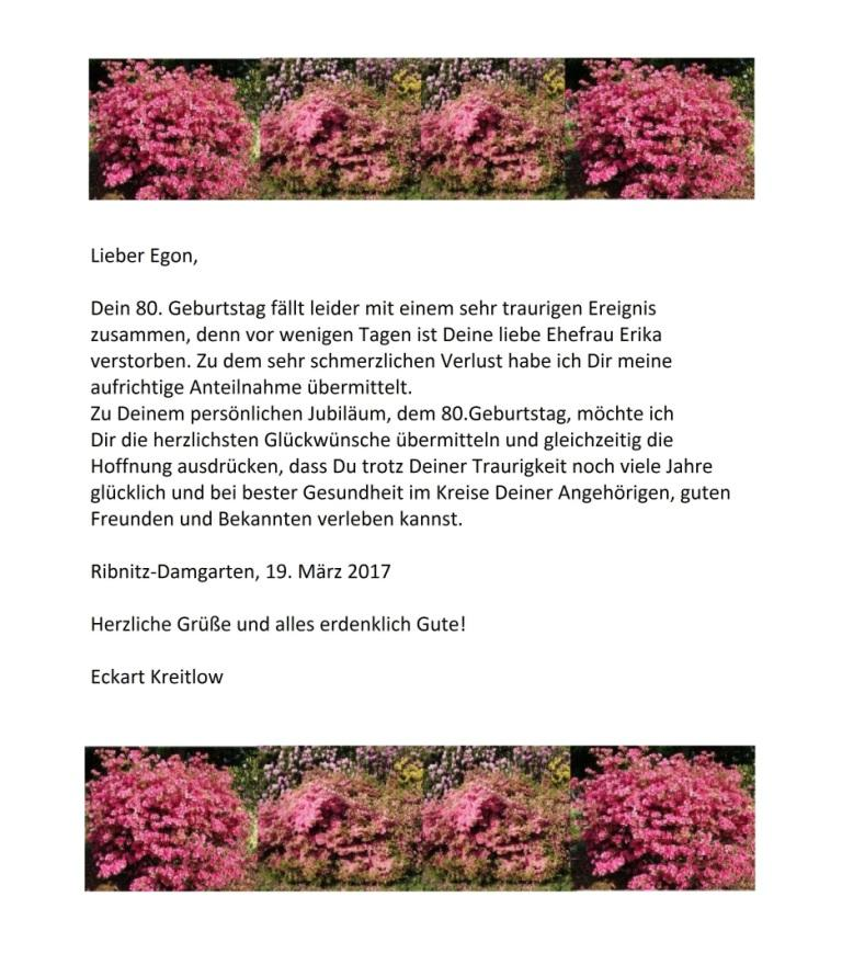 Herzlichste Glückwünsche zu Deinem 80.Geburtstag, lieber Egon! - Gratulation von Egon Krenz, ehemaliger Generalsekretär des ZK der SED und Vorsitzender des Staatsrates der DDR, zu seinem 80.Geburtstag - Ostsee-Rundschau.de