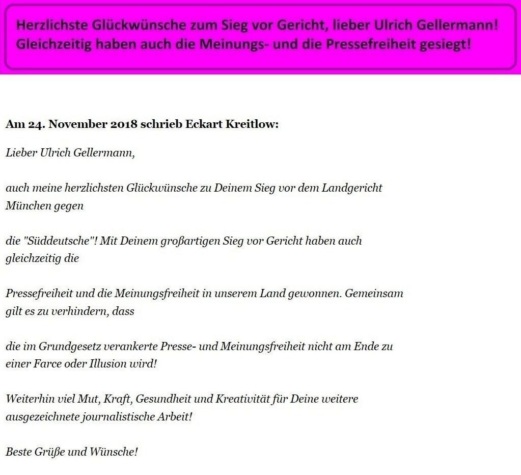 Email an den Journalisten und Filmemacher Ulrich Gellermann von Rationalgalerie.de - Herzlichste Glückwünsche zum Sieg vor Gericht, lieber Ulrich Gellermann! Gleichzeitig haben auch die Meinungs- und die Pressefreiheit  gesiegt
