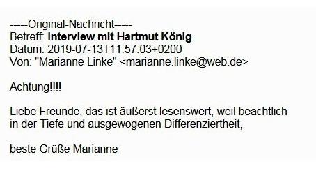 Aus dem Posteingang von Dr. Marianne Linke - Höhen und Tiefen des DDR-Kulturlebens - Interview mit Harald König.