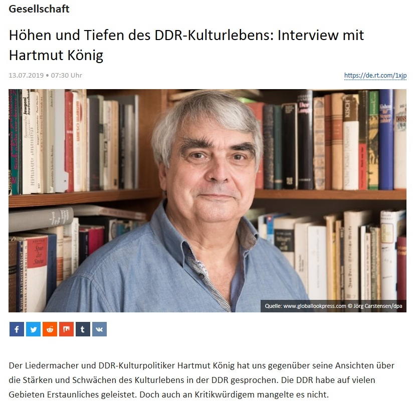 Gesellschaft - Höhen und Tiefen des DDR-Kulturlebens: Interview mit Hartmut König